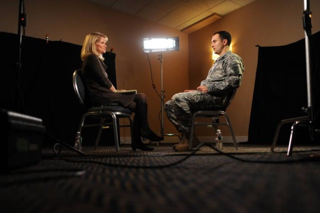 "Martha Raddatz, ABC News correspondent, interviews Staff Sgt. Salvatore ""Sal"" Giunta, who received the Medal of Honor from President Barack Obama during a White House ceremony Nov. 16. The U.S. Congress awards the medal, the nation's highest military honor, for risk of life in combat beyond the call of duty. Giunta, who is the first non-postumous award recipient since Vietnam, was honored for actions during a firefight in the Korengal valley of Afghanistan in October 2007."