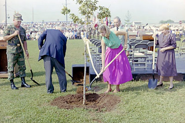 On Sept. 20, 1986, Janice's dream for a living memorial became a reality. The 16-year-old and her family traveled from Canada to Fort Campbell to formally dedicate a grove of Canadian sugar maple saplings during a special memorial ceremony, honoring the Soldiers of the 101st Airborne Division who perished Dec. 12, 1985, at Gander, Newfoundland, Canada, as they were returning to Fort Campbell from a peacekeeping mission to the Sinai.