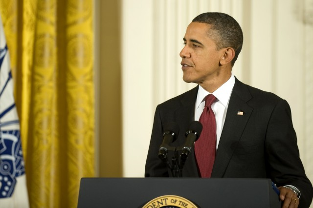 President Barack Obama addresses the audience during the Medal of Honor ceremony at the White House in Washington, D.C., Nov. 16, 2010. The ceremony was held to present the Medal of Honor to Army Staff Sgt. Salvatore Giunta.