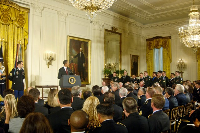 President Barack Obama presents the Medal of Honor to Staff Sgt. Salvatore Giunta during a ceremony at the White House in Washington, D.C., Nov. 16, 2010.