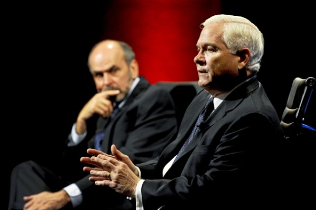 Defense Secretary Robert M. Gates, right, responds to a question during an interview with Gerald F. Seib, the Wall Street Journal's executive Washington editor, during the newspaper's CEO Council event in Washington, D.C., Nov. 16, 2010. The interview focused on upcoming budget cuts within the department. Seib also is the Wall Street Journal's assistant managing editor.