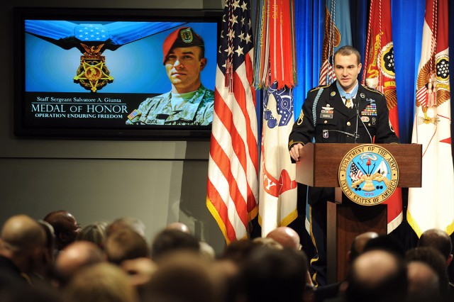 Medal of Honor recipient U.S. Army Staff Sergeant Salvatore Giunta thanks his teammates from Company B, 2nd Battalion, Airborne, 503rd Infantry Regiment and all those in the room that helped shape his life, during his induction ceremony into the Hall of Heroes at the Pentagon, Nov. 17, 2010.