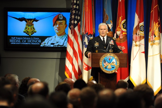 U.S. Army Chief of Staff Gen. George W. Casey Jr. addresses the audience during an induction ceremony into the Hall of Heroes for Medal of Honor recipient Army Staff Sgt. Salvatore Giunta at the Pentagon, Nov. 17, 2010.
