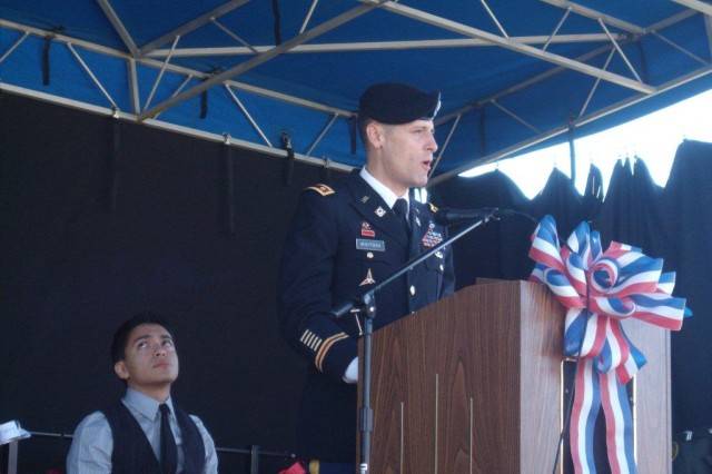 Major Jesse Wightman, executive officer of the 260th Quartermaster Bn., was one of the speakers at the Richmond Hill High School Veterans Day obervance, Nov. 10.
