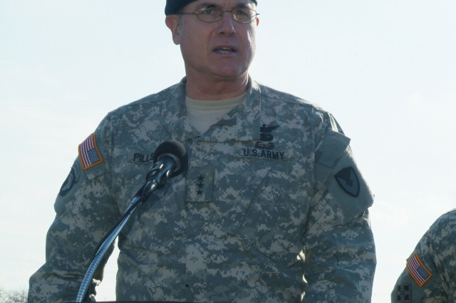 Lt. Gen. James H. Pillsbury (deputy commanding general, Army Materiel Command) addresses the audience during the Joint Munitions Command assumption of command on Nov. 16.