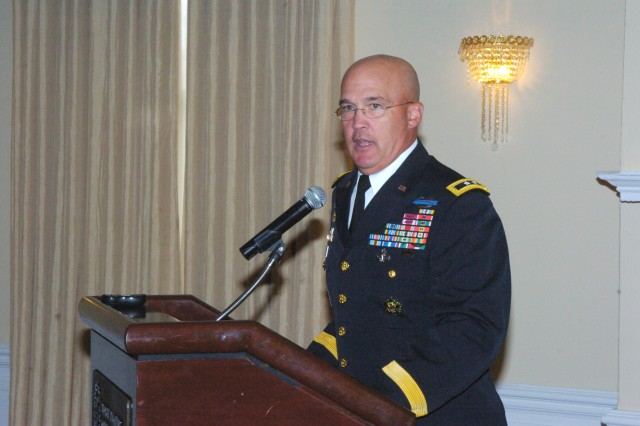 Maj. Gen. Karl Horst, commander JFHQ NCR/MDW, addresses directors and police chiefs from local, state and federal agencies during the third annual Law Enforcement Luncheon hosted by his command, 18 Nov. 2010.  The gathering was at Fort McNair's Officer Club and featured discussions of the unique issues facing capital region law enforcement agencies.