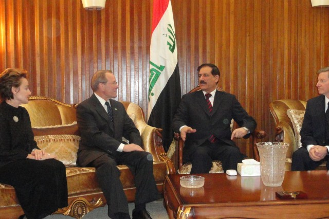 (left to right) Catherine Mater, director of sustainability for the Oregon State University College of Engineering, Oregon Gov. Theodore Kulongoski, and His Excellency Dr. Abud Alajeeli, Iraq minister of Higher Education and Scientific Research, meet in the Minister's office prior to the historic MOU signing in Baghdad, Iraq, Nov. 3.
