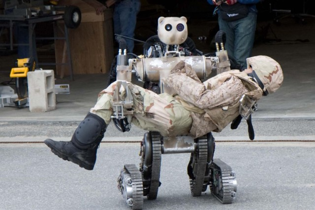 Battlefield Extraction-Assist Robot is an all-terrain, search-and-rescue humanoid robot that can lift and carry up to 500 pounds, yet can grasp fragile objects without damaging them.