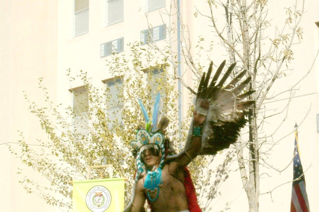 Keith Edaakie, of the Nawetsa Dancers from Zuni Pueblo, performs the Eagle Dance at the foot of a memorial bur oak tree planted in front of enlisted Soldier barracks at White Sands Missile Range, N.M., during a ceremony in 2007 to honor the life and sacrifice of Spc. Lori Ann Piestewa, 507th Maintenance Company, Fort Bliss, Texas. action during Operation Iraqi Freedom.