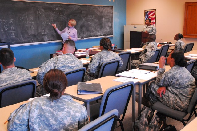 Instructor Lynette Leventis conducts a Basic Skills Education Program class Thursday at the Fort Jackson Army Continuing Education Services Center. Despite funding issues, the center still offers a variety of services.