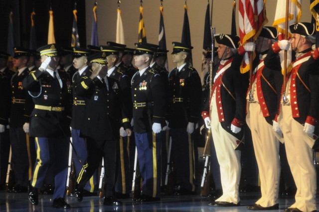 The 3d U.S. Infantry Regiment (The Old Guard) provided ceremonial support for the General Officer Retirement Ceremony in honor of Maj. Gen. Richard J. Rowe, Jr. (middle), Commanding General of Joint Force Headquarters National Capital Region and the U.S. Army Military District of Washington from June 2007 to July 2009, at Conmy Hall, Fort Myer, Va. on Nov. 19. Lt. Gen. William Troy (left) was the presiding officer at the ceremony and is currently the Director of the Army Staff. Rowe's career began in 1973 and his final assignment was Director Iraq Training and Advisory Team, United States Forces-Iraq.