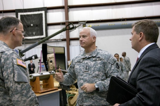 Lt. Gen. Michael A. Vane, director of the Army Capabilities Integration Center (ARCIC), U.S. Army Training and Doctrine Command (TRADOC), tours facilities at Picatinny Arsenal Nov. 18.