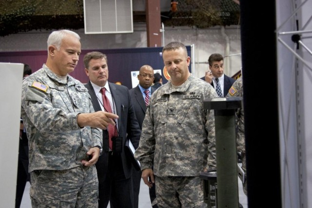 Lieutenant General Michael A. Vane, director of the Army Capabilities Integration Center (ARCIC), U.S. Army Training and Doctrine Command (TRADOC), tours facilities at Picatinny Arsenal Nov. 18.
