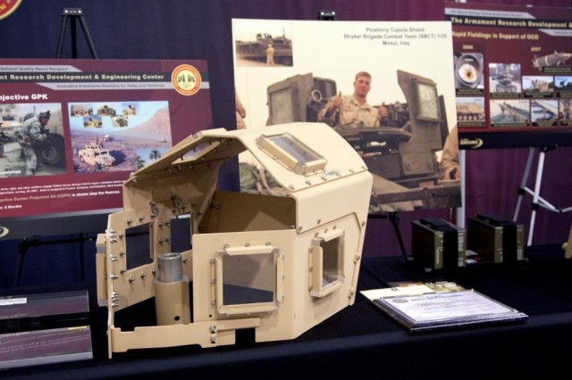 One of many Picatinny technologies that Lt. Gen. Michael A. Vane, director of the Army Capabilities Integration Center (ARCIC), U.S. Army Training and Doctrine Command (TRADOC), was briefed on is the Objective Gunner Protection Kit and Overhead Cover, pictured here. About 45,000 OGPKs have been fielded to U.S. troops to date.