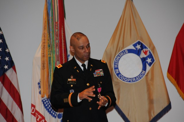 Retiring Col. Tommy Lancaster makes his remarks during his ceremony.
