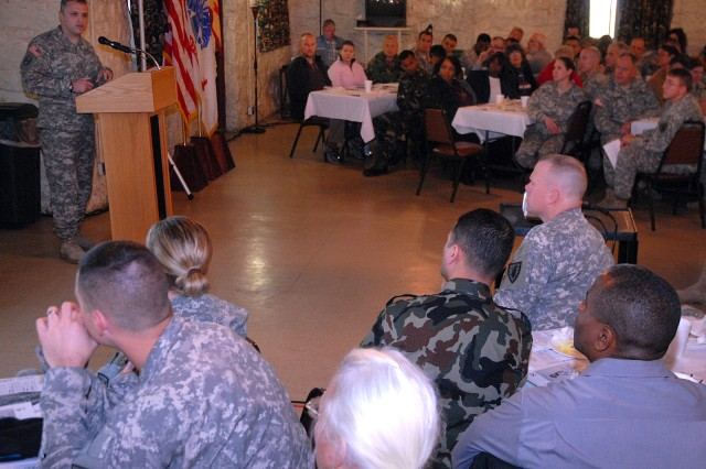 Maj. Michael Marciniak, Intermediate Level Education student in the 2011-01 class at the Command and General Staff College, shares information about his Lumbee heritage during the Native American Heritage Month luncheon Nov. 18 at Hunt Lodge, at Fort Leavenworth, Kan.