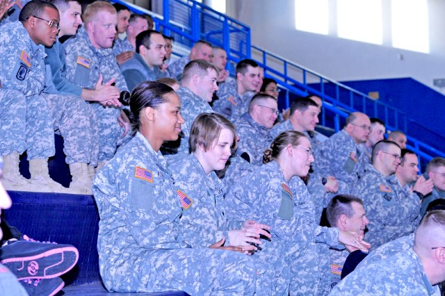 Wiesbaden Soldiers laugh as they listen to comedian Bernie Mcgrenahan share his comic outlook on overcoming alcohol abuse.