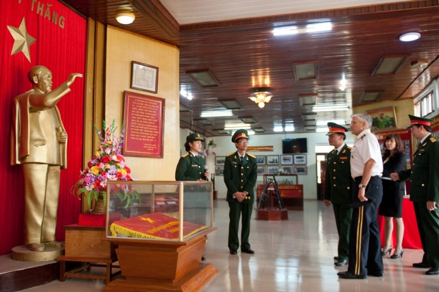 Chief of Staff of the US Army, Gen. George W. Casey Jr., is shown a statue of Ho Chi Minh during a visit to the museum of the 308th Infantry Division near Hanoi, Vietnam on Nov. 22, 2010.  This year marks the 15th anniversary of the normalization of U.S.-Vietnam US diplomatic relations.