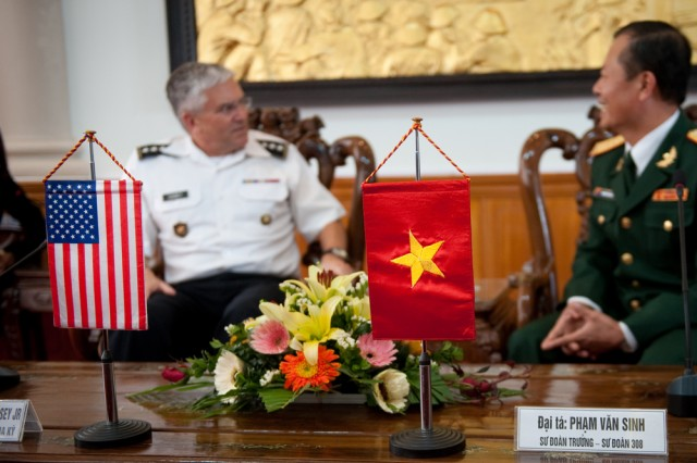 Chief of Staff of the US Army, Gen. George W. Casey Jr., meets with the 308th Infantry Division Commander, Pham Van Sinh, at the 308th headquarters near Hanoi, Vietnam on Nov. 22, 2010.  Casey meet with Vietnam's senior Army leaders to help further military-to-miltary relations between the U.S. and Vietnam.