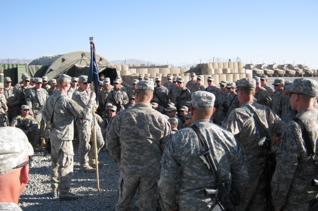 GHAZNI PROVINCE, Afghanistan - Soldiers of Company A, 3rd Battalion, 187th Infantry Regiment (Task Force Iron Rakkasan), 3rd Brigade Combat Team, 101st Airborne Division, gather at Forward Operating Base Deh Yak to hear from U.S. Army Lt. Col. David Fivecoat from Delaware, Ohio, Iron Rakkasan commander. (Photo by U.S. Army 1st Lt. R.J. Peek, Task Force Iron Rakkasan)