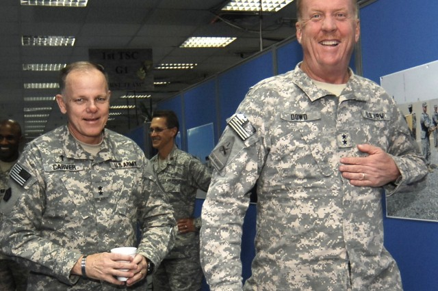 CAMP ARIFJAN, Kuwait - Chief of Chaplains of the Army, Chaplain (Maj. Gen.) Douglas L. Carver (left), of Rome, Ga., visits Maj. Gen. Kenneth Dowd (right), commanding general of 1st Theater Sustainment Command, during a tour of Camp Arifjan Nov. 27. Chaplain (Maj. Gen.) Carver visits Third Army during the holiday season to promote the spiritual fitness of Servicemembers.