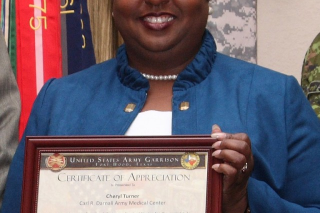 Cheryl Turner, Carl R. Darnall Army Medical Center's patient advocate, received the Interactive Customer Evaluation Customer Service Award for her kindness and concern for patients and their families that transcended her normal job duties.