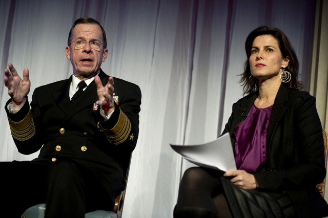 U.S. Navy Adm. Mike Mullen, chairman of the Joint Chiefs of Staff, answers a question from ABC News Correspondent Claire Shipman, who moderated the Alfred P. Sloan Foundation Focus on Workplace Flexibility panel at the Corcoran Gallery of Art in Washington, D.C., Nov. 29, 2010.