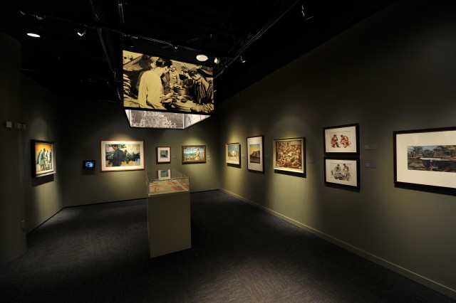 A gallery within the Art of the American Soldier exhibit at the National Constitution Center in Philadelphia.