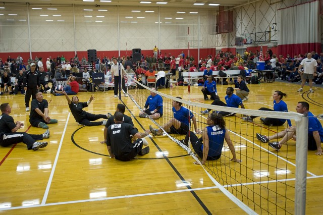 The Army and Air Force sitting volleyball teams face off during the Warrior Games in Colorado Springs, Colo.