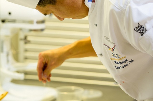Master Sgt. Mark Morgan prepares a dish during the World Association of Chefs Societies (WACS) Culinary World Cup in Luxemburg from Nov. 20 to 24 where he was also recognized as one of the top three pastry chefs in the world.