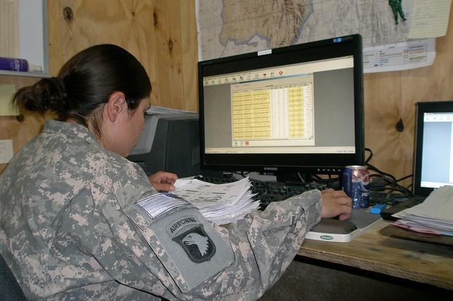 SPC Rosemary Yanezgarcia, 801st Brigade Support Battalion, 101st Airborne Division, utilizes DCAM's improved functionality to simultaneously process multiple receipts in the Brigade Medical Supply Office at Forward Operating Base Sharana,
