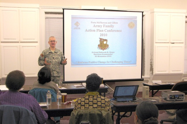 Sgt. Maj. Troy Falardeau, public affairs sergeant major, U.S. Army Reserve Command, addresses attendees at the Army Family Action Plan (AFAP) conferenceAca,!a,,cs opening ceremony Tuesday at the Army Community Service building on Fort McPherson.
