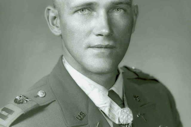 Captain Roger H. C. Donlon wears his Medal of Honor in a U. S. Army portrait photo.