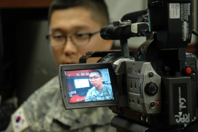 Yongsan Public Affairs Specialist Pfc. Hong  Moo-sun say he likes helping people on social media, during an interview for American Forces Network Korea that aired this weekend.