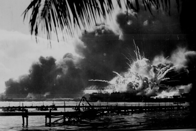 USS Shaw exploding during the Japanese raid on Pearl Harbor, Dec., 7, 1941.