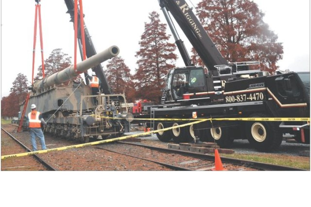 Anzio Annie, hailed as one of the largest land-based cannons ever built, is prepped for her haul to Fort Lee, Va.