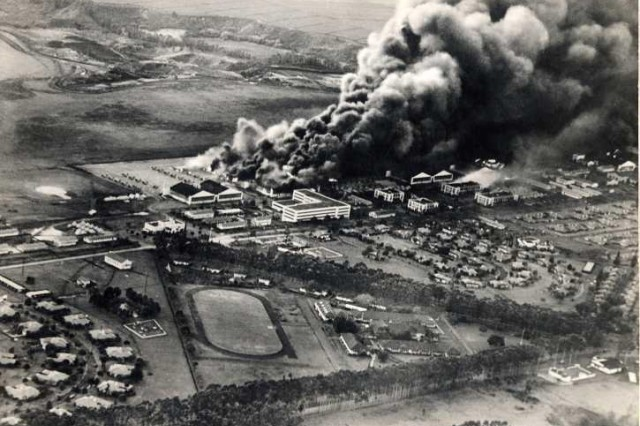 Though most of the damage occurred at Pearl Harbor, Wheeler Army Airfield didn't slip by unscathed during the Japanese attack on Oahu, Dec. 7, 1941.