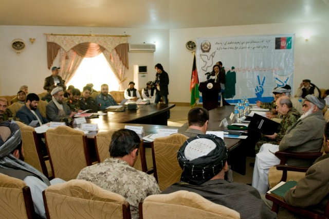 101206-A-5634G-001: Afghan provincial governors and members of the High Peace Council, an organization set up to promote peace talks with the Taliban, gather Dec. 6, in Kandahar City, Afghanistan, to talk about reintegrating former Taliban into society. (U.S. Army photo by Spc. Edward A. Garibay, 16th Mobile Public Affairs Detachment)