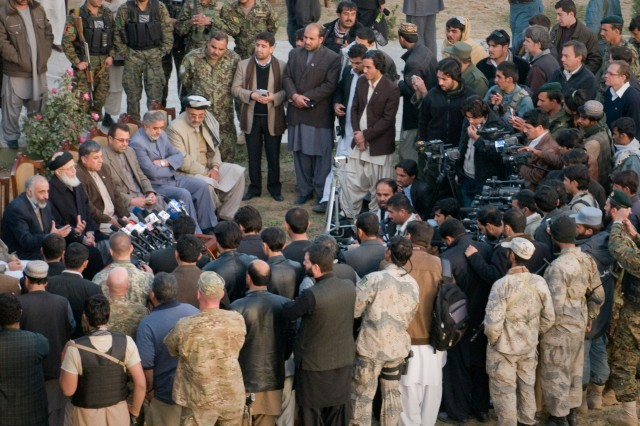 101206-A-5634G-005: Members of the High Peace Council and southern Afghan provincial governors answer questions during a press conference Dec. 6, in Kandahar City, Afghanistan.  The purpose of the press conference was to let the people of Afghanistan know about the efforts of the High Peace Council, an organization set up by Afghan President Hamid Karzai to promote peace talks with the Taliban. (U.S. Army photo by Spc. Edward A. Garibay, 16th Mobile Public Affairs Detachment)