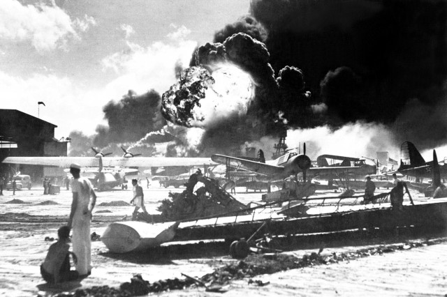 Captured Japanese photograph taken during the attack on Pearl Harbor Dec. 7, 1941. In the distance, the smoke rises from Hickam Field.
