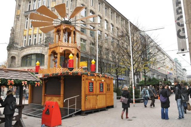Shoppers stroll through the Christmas Market and shopping district of Hamburg.