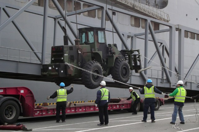 Soldiers from the 25th Transportation Battalion and stevedores load an M10A forklift on a lowboy trailer using the USNS Watson's port-side crane. In operations conducted at the Port of Gwangyang, South Korea, prepositioned equipment aboard the USNS Watson was downloaded, serviced and placed back aboard the 950-foot-long vessel.