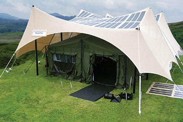 Using flexible photovaltaics the Power Shade shelter depicted can generate up to 2 kilowatts of & Army evaluating transportable solar-powered tents | Article | The ...