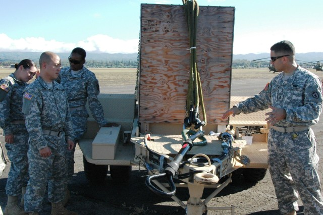 Staff Sergeant Pablo Aviles, primary instructor, sling-load training, A Company, 325th Brigade Support Battalion, 3rd Infantry Brigade Combat Team, 25th Infantry Division, teaches a group of Soldiers procedures sling-loading a towed generator during sling-load training at Wheeler Army Airfield, Nov. 22.   (Photo by Sgt. 1st Class Tyrone C. Marshall Jr.  25th Combat Aviation Brigade Public Affairs)