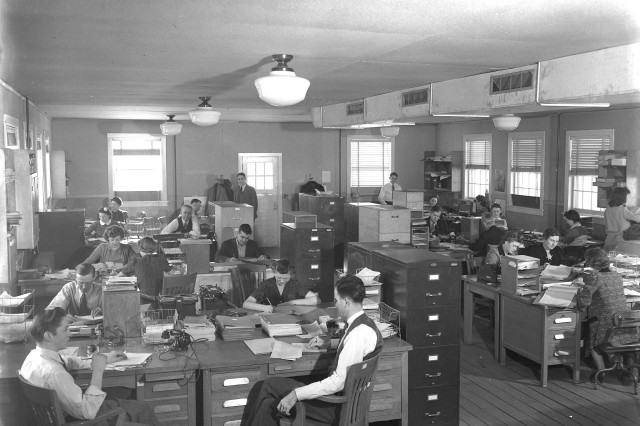 A view of a federal civilian office at Camp McCoy in the 1940s. The Fort McCoy Public Affairs Office is seeking similar clothing to help design a period display in the Commemorative Area.
