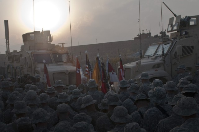 NANGARHAR PROVINCE, Afghanistan - As the sun sets, Task Force Panther Soldiers crowd in close to listen to remarks by Secretary of Defense Robert M. Gates at Forward Operating Base Connolly in eastern Afghanistan Dec. 7. Gates visited soldiers assigned to 1st Squadron, 61st Cavalry Regiment, Task Force Panther, 4th Brigade Combat Team, 101st Airborne Division. (Photo by U.S. Army Staff Sgt. Mark Burrell, Task Force Bastogne Public Affairs)
