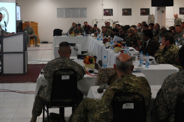 Afghan National Security Forces, Afghan government and coalition officials discuss strategy for the upcoming months at a meeting at Bagram Airfield Dec. 5.