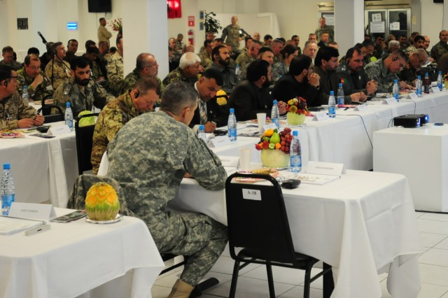 Members of coalition forces, the Afghan National Security Force and government officials met at Bagram Airfield to discuss strategy Dec. 5.