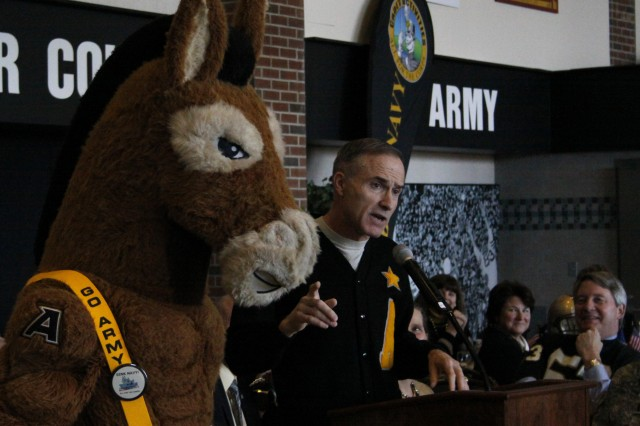 Lt. Gen. David H. Huntoon Jr., U.S. Military Academy superintendent, spoke about how the annual Army-Navy game brings out the best qualities of West Point to a national audience. In a lighter context, he also explained how the Army mule is a more respectable mascot than the Navy goat.