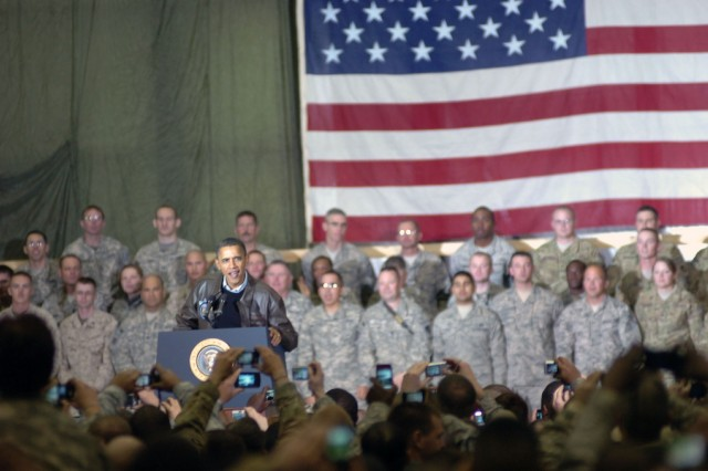 President Barack Obama visited nearly 3,500 servicemembers at Bagram Airfield Dec. 3, 2010, to thank them for their service and asked them to pass on his gratitude to their families as well.